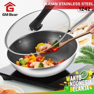 Harga gm bear wajan penggorengan stainless steel 1242 fry pan | HARGALOKA.COM