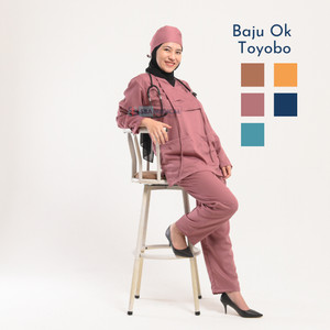Harga baju ok toyobo baju medis lengan panjang bahan toyobo   peach | HARGALOKA.COM