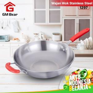Harga gm bear wajan wok stainless steel 32cm 1297   wajan | HARGALOKA.COM