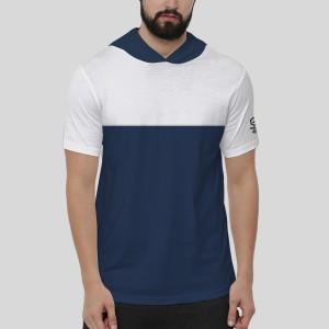 Harga baju cowo kaos hoodie pendek pria t shirt distro   h2 2121001   putih navy | HARGALOKA.COM