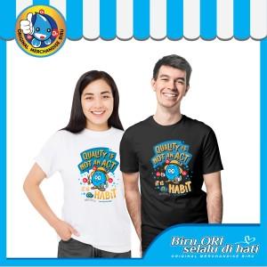 Harga baju kaos t shirt atasan distro quality fashion wanita pria   biru ori   | HARGALOKA.COM