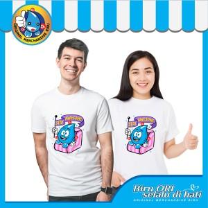 Harga baju kaos t shirt distro stay awesome fashion wanita pria   biru ori   | HARGALOKA.COM