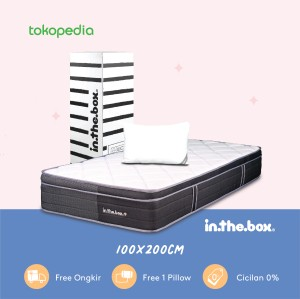 Harga kasur spring bed in the box plus uk 100x200 super single free | HARGALOKA.COM