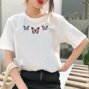 Harga kaos butterfly kupu crop top oversize wanita jumbo   putih | HARGALOKA.COM