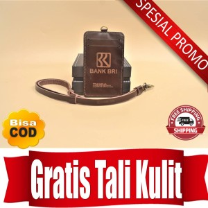 Harga id card holder bank bri name tag kulit bri coklat   HARGALOKA.COM