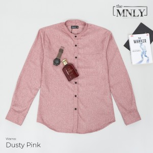 Harga kemeja pria lengan panjang kerah shanghai dusty pink katun import   dusty pink | HARGALOKA.COM