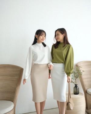 Harga top blouse high neck lengan panjang wanita   disty long turtleneck top   green | HARGALOKA.COM