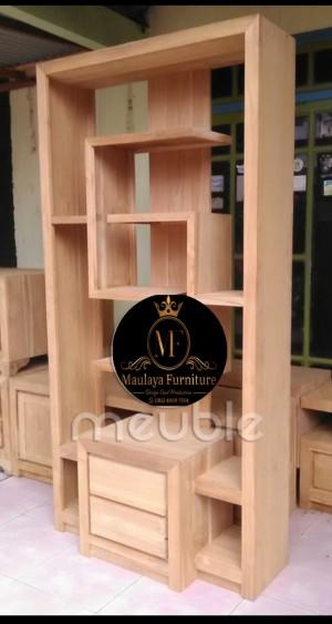 Harga partisi minimalis 2 laci   pembatas ruangan kayu jati   rak | HARGALOKA.COM