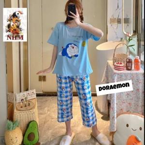 Harga piyama wanita baju tidur wanita setelan celana 7 8 karakter import   doraemon | HARGALOKA.COM
