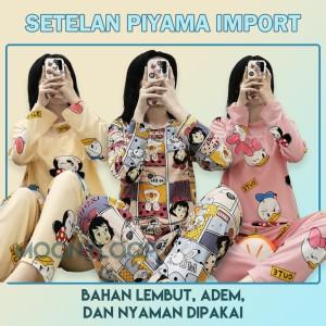 Harga piyama import lengan panjang karakter lucu baju tidur wanita   comic girl   HARGALOKA.COM