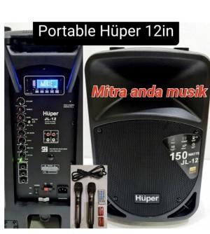 Harga speaker aktif portable wireless uhf usb bluetooth huper jl12   HARGALOKA.COM