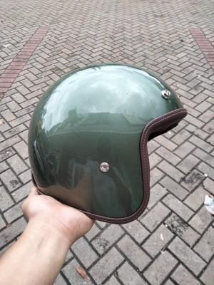 Harga boulter ss leather trim   helm retro premium   olive green | HARGALOKA.COM