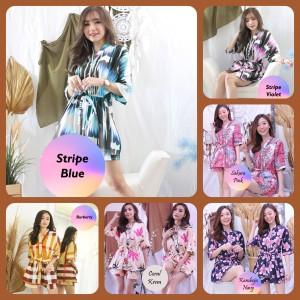 Harga new baju tidur hotpants cewek wanita piyama kimono pendek motif lucu   stripe | HARGALOKA.COM