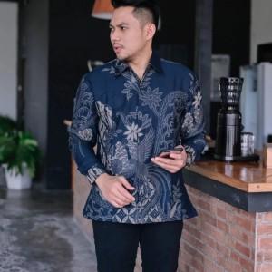 Harga baju kemeja batik pria panjang prabu seno kantor premium moderen a01   | HARGALOKA.COM