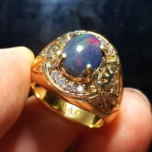 Harga cincin black opal natural stone batu kalimaya black opal   gold | HARGALOKA.COM