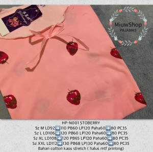 Harga baju tidur wanita import normal jumbo gaya korea cina grosir piyama   hp n01 stbry   HARGALOKA.COM