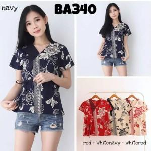 Harga atasan batik bahan katun model kimono kemeja batik wanita batik | HARGALOKA.COM