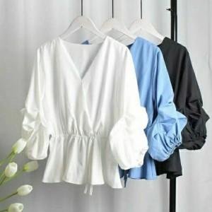 Harga fashion wanita atasan wanita blouse wanita blouse v   putih all | HARGALOKA.COM