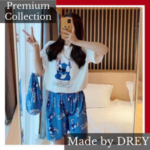 Harga piyama wanita import spandex premium celana pendek motif stitch     HARGALOKA.COM