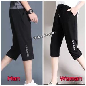 Harga celana pendek capri 3 4 pria wanita olahraga gym lari sepeda big size   3 4 hitam polos | HARGALOKA.COM