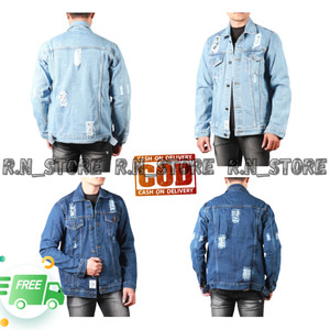 Harga jaket jeans denim pria wanita sobek destroy termurah   bioblitz sobek | HARGALOKA.COM