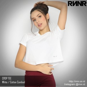 Harga kaos olahraga wanita crop top tee gym dance lari fitness cotton rnnr   putih | HARGALOKA.COM