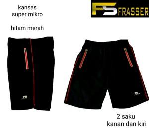 Harga celana pendek olahraga running frasser kansas mikro hitam merah | HARGALOKA.COM