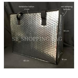 Harga tas alumunium foil bubble thermal cooler bag tas belanja shoppingbag m   | HARGALOKA.COM