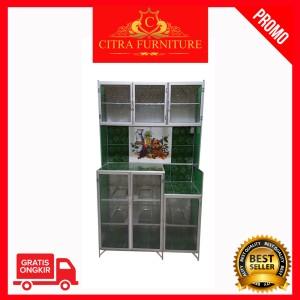 Harga rak piring 3 pintu alumunium lemari piring rak sayur   | HARGALOKA.COM