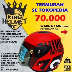 Harga helm half face evolution motif outside mirip gm evo murah helm dewasa   outsid red | HARGALOKA.COM