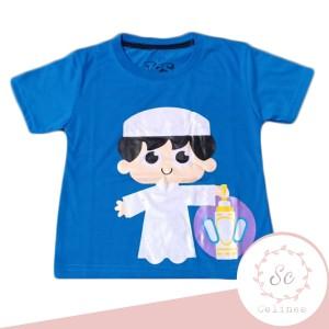 Harga baju atasan anak laki laki perempuan muslim biru uk 1 10 tahun   1 | HARGALOKA.COM