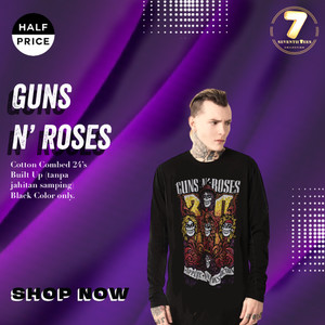 Harga long sleeve kaos gnr guns n roses 33rd years anniversary band | HARGALOKA.COM