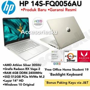 Harga laptop hp 14s fq0056au athlon silver 3050u ram 4gb 512gb windows 10ori   4gb ori | HARGALOKA.COM