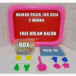 Harga pasir ajaib 1kg free kolam balon   mainan anak pasir | HARGALOKA.COM