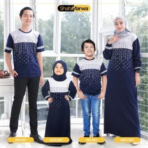 Harga baju couple keluarga kaos sarimbit family set shafamarwa 52 navy   cowok anak 2th 6th | HARGALOKA.COM