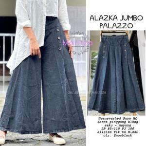 Harga celana kulot wanita jeans jumbo denim palazo hitam biru xxl   | HARGALOKA.COM