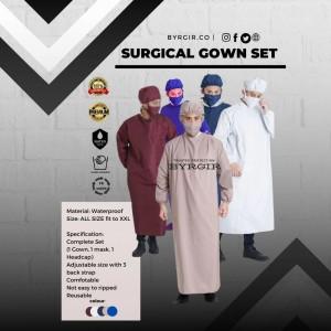 Harga byrgir surgical gown baju bedah gaun operasi medis set waterproof apd   cream l | HARGALOKA.COM