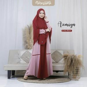 Harga set gamis dewasa syari couple lebaran polos azmiya dress manasikana   merah | HARGALOKA.COM