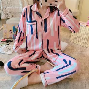 Harga baju tidur piyama set kemeja pp lengan panjang celana panjang import 5   garisbiruputih | HARGALOKA.COM