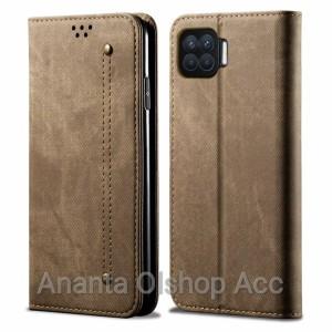 Harga flip cover oppo reno 4f wallet leather case cloth jeans original   khaki | HARGALOKA.COM