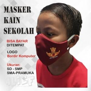 Harga masker kain sekolah logo bordir tutwuri sd smp sma pramuka 2ply   | HARGALOKA.COM
