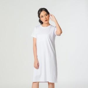 Harga dress kaos polos wanita tangan pendek combed spandek white   putih | HARGALOKA.COM