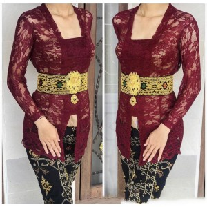 Harga kebaya kutu baru baju bali modern atasan brukat wanita murah grosir   maroon | HARGALOKA.COM