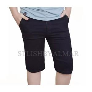 Harga celana pendek jeans pria jins cowok bahan tebal   hitam | HARGALOKA.COM