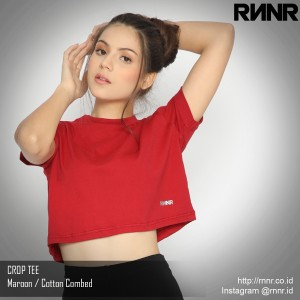 Harga kaos dance gym wanita crop top tee olahraga lari fitness katun rnnr   maroon | HARGALOKA.COM