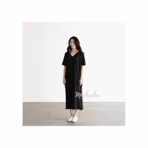 Harga baju wanita korean style v neck mishasha soomin long dress   hitam | HARGALOKA.COM