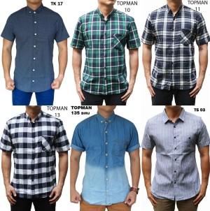 Harga kemeja pria lengan pendek pakaian kerja berkerah atasan casual formal   tokean 17 | HARGALOKA.COM