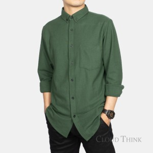 Harga kemeja pria lengan panjang original brand cloud think cotton pique   hijau | HARGALOKA.COM