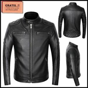 Harga jaket kulit asli domba garut super   jaket kulit motor terbaru 2021   hitam   HARGALOKA.COM