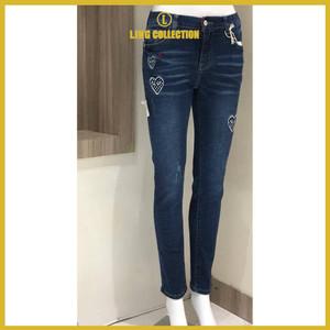 Harga celana skinny jenas wanita big size premium motif hati t2000   biru | HARGALOKA.COM